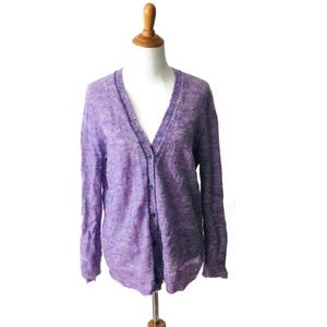 J.Crew Women's Purple Mohair Wool Cardigan Large